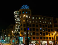 Night view to Dancing House in Prague, Czech Republic Royalty Free Stock Images