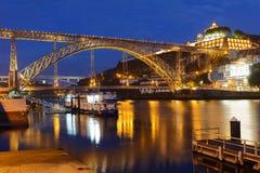 Night view to Dom Luis I Bridge in Porto, Portugal Stock Photo
