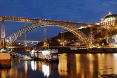 Night view to Dom Luis I Bridge in Porto, Portugal. Porto, Portugal - May 8, 2017: Night view of the Dom Luis I Bridge across river Douro. This double-deck metal Stock Photo