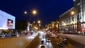 Night view to Garden ring from Triumfalnaya square. MAY 14, 2015 MOSCOW. Night view to Garden ring from Triumfalnaya square. Garden ring or Sadovoye Koltso, is stock video