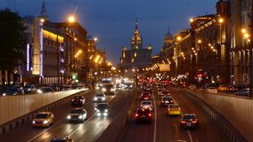 Night view to Garden ring from Triumfalnaya square. MAY 14, 2015 MOSCOW. Night view to Garden ring from Triumfalnaya square. Garden ring or Sadovoye Koltso, is stock video footage