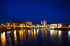 Night view to Harbor in Gdansk, Poland Stock Image