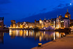 Night view to Harbor in Gdansk, Poland Royalty Free Stock Photo