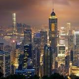 Night view to HongKong and Kowloon Stock Photos