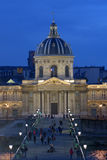 Night view to the Institut de France, Paris Stock Photography