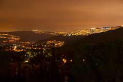 Night view to Jerusalem from Ein Kerem district Royalty Free Stock Image