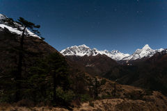 Night view to Khumbu valley Royalty Free Stock Images