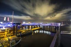 Night view to landungsbruecken in Hamburg Stock Images