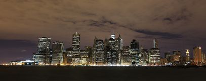 Night view to Manhattan. From the river Stock Photography