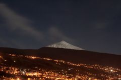 Night view to the mountain with snow royalty free stock images