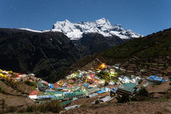 Night view to the Namche Bazar Stock Photos