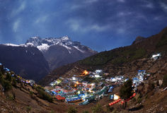 Night view to the Namche Bazar, Nepal Stock Image