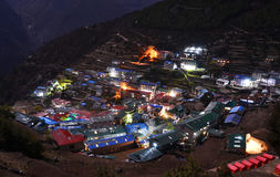 Night view to the Namche Bazar, Nepal Royalty Free Stock Photography