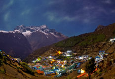 Night view to the Namche Bazar, Nepal Royalty Free Stock Images