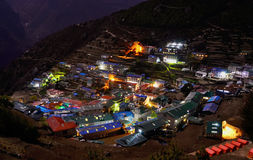 Night view to the Namche Bazar, Nepal Royalty Free Stock Image