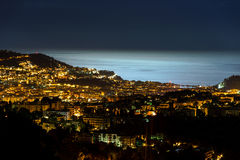 Night view to Nice with moonlight on the water Stock Image