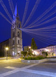 Night view to the Notre Dame church in Bergerac, France Royalty Free Stock Photo