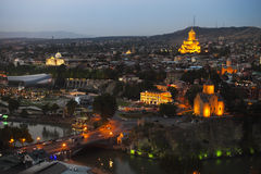 Night view to Old town of Tbilisi Royalty Free Stock Photo