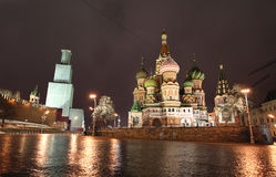 Night view to Red Square with Savior Tower closed to renovation. Moscow Royalty Free Stock Photo