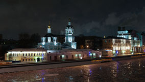 Night view to Saint Nicholas church aka Spas Transformation and Moscow river in winter, Moscow, Russia. Night view to Saint Nicholas church aka Spas Stock Photo