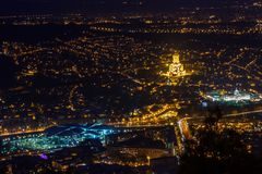 Night view to the Tbilisi city center with Holy Trinity Cathedra Stock Photo