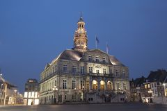 Night view to town hall of Maastricht. Night view to town hall on the Market square of Maastricht,. The building was erected in the 17th century by Pieter Post Royalty Free Stock Photo