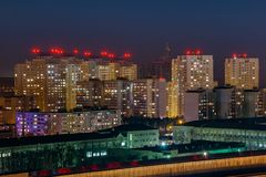 Night view to urban modern apartment buildings, Voronezh, Russia royalty free stock images