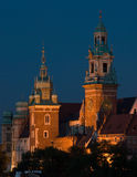 Night view to Wawel Royal castle in Cracow, Poland Stock Image