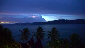 Night view on Toba Lake with flash light stock video footage