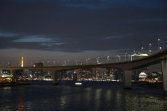 Night view of Tokyo Bay in Japan Stock Images