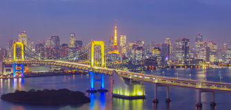 Night view of Tokyo Bay , Rainbow bridge and Tokyo Tower landmark Stock Photography