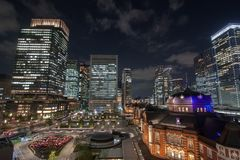 Night view at Tokyo Station in Tokyo, Japan stock photos