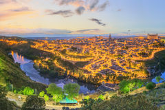 Night view of Toledo cityscape and Tagus River from the hill, Castilla la Mancha, Spain Royalty Free Stock Photos