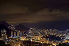 Night view of the top of the Rio de Janeiro skyline Stock Photography