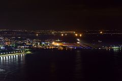 Night view of the top of the Santos Dumont airport stock photo
