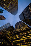 Night view of Toronto city skyscrapers; look up Stock Photography