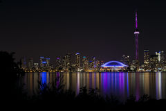 Night View of Toronto's Skyline. The Toronto skyline at night, from Centre Island in Toronto Stock Images