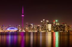 Night view of Toronto skyline royalty free stock photography