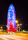 Night view of Torre agbar Royalty Free Stock Photos