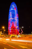 Night view of Torre agbar. Barcelona Stock Photos