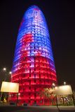 Night view of Torre agbar. BARCELONA, SPAIN - MARCH 31: Night view of Torre agbar in March 31, 2012 in Barcelona, Spain. Skyscraper, built in 1999-2005 by Jean Stock Images