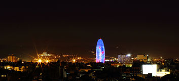 Night view of Torre agbar in Barcelona, Spain. Stock Photography