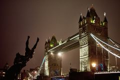 Night view of Tower Bridge Royalty Free Stock Photo