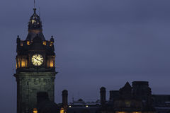 Night view of the tower with clock, Edinburgh Stock Photo