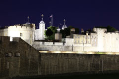 Night view of Tower in London, UK royalty free stock image