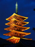 Night view of the tower of the temple of Japan. Night view of the tower of Senso-ji Temple of Tokyo, Japan Stock Photo