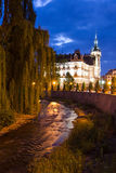 Night view for town hall - river side Royalty Free Stock Photography