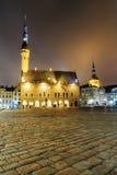 Night view of the Town Hall in Tallinn, Estonia Stock Photos