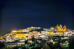 Night view of town Ostuni, Italy Royalty Free Stock Photography