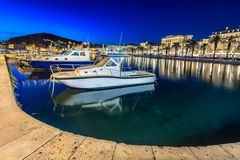 Night view at town Split, Europe. Stock Photography